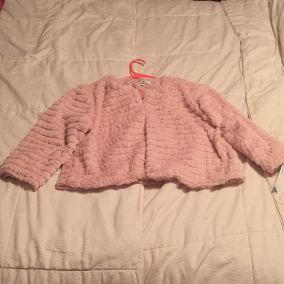 Robbie Bee Jackets & Blazers - Robbie Bee Blush Pink Fur Shrug